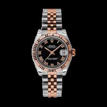 Rolex Mens Two Tone Midsize Datejust - Rose Gold Black Roman Dial - 18K Fluted Bezel - Jubilee Bracelet 31 MM 178271