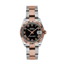 Rolex Mens Two Tone Midsize Datejust - Rose Gold Black Roman Dial - 18K Fluted Bezel - Oyster Bracelet 31 MM 178271