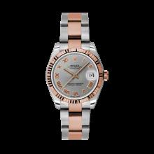 Rolex Mens Two Tone Midsize Datejust - Rose Gold Gray Roman Dial - 18K Fluted Bezel - Oyster Bracelet 31 MM 178271