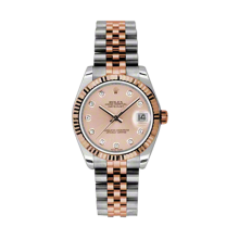 Rolex Mens Two Tone Midsize Datejust - Rose Gold Pink Diamond Dial - 18K Fluted Bezel - Jubilee Bracelet 31 MM 178271