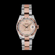 Rolex Mens Two Tone Midsize Datejust - Rose Gold Pink Diamond Dial - 18K Fluted Bezel - Oyster Bracelet 31 MM 178271