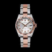 Rolex Mens Two Tone Midsize Datejust - Rose Gold Silver Jubilee Diamond Dial - 18K Fluted Bezel - Oyster Bracelet 31 MM 178271