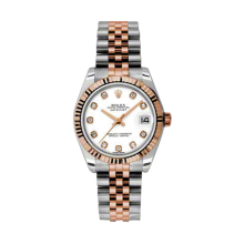 Rolex Mens Two Tone Midsize Datejust - Rose Gold White Diamond Dial - 18K Fluted Bezel - Jubilee Bracelet 31 MM 178271