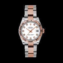 Rolex Mens Two Tone Midsize Datejust - Rose Gold White Diamond Dial - 18K Fluted Bezel - Oyster Bracelet 31 MM 178271
