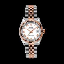 Rolex Mens Two Tone Midsize Datejust - Rose Gold White Roman Dial - 18K Fluted Bezel - Jubilee Bracelet 31 MM 178271