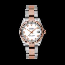 Rolex Mens Two Tone Midsize Datejust - Rose Gold White Roman Dial - 18K Fluted Bezel - Oyster Bracelet 31 MM 178271