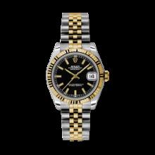 Rolex Mens Two Tone Yellow Gold Midsize Datejust - Black Index Dial - 18K Fluted Bezel - Jubilee Bracelet 31 MM 178273