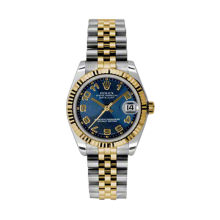 Rolex Mens Two Tone Yellow Gold Midsize Datejust - Blue Concentric Arabic Dial - 18K Fluted Bezel - Jubilee Bracelet 31 MM 178273