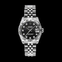 Rolex Datejust Stainless Steel - Black Diamond Dial - 18K Fluted Bezel - Jubilee Bracelet 31 MM 178274
