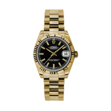 Rolex Yellow Gold President - Black Index Dial - Fluted Bezel 31 MM 178278