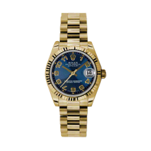 Rolex Yellow Gold President - Blue Concentric Arabic Dial - Fluted Bezel 31 MM 178278