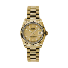 Rolex Yellow Gold President - Champagne Index Dial - Fluted Bezel 31 MM 178278