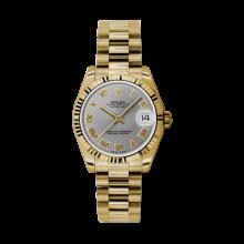 Rolex Yellow Gold President - Gray Roman Dial - Fluted Bezel 31 MM 178278