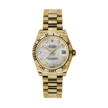 Rolex Yellow Gold President - Mother of Pearl Diamond Dial - Fluted Bezel 31 MM 178278