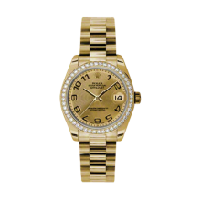 Rolex Yellow Gold President - Champagne Concentric Arabic Dial - Diamond Bezel 31 MM 178288