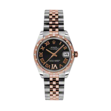 Rolex Mens Midsize Datejust - Two Tone Rose Gold Black Diamond Dial - Domed Bezel with 24 Diamonds - Jubilee Bracelet 31 MM 178341