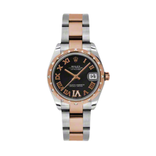Rolex Mens Two Tone Midsize Datejust - Rose Gold Black Diamond Dial - Domed Bezel with 24 Diamonds - Oyster Bracelet 31 MM 178341