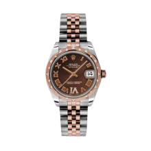 Rolex Mens Two Tone Midsize Datejust - Rose Gold Chocolate Diamond/Roman Dial - Domed Bezel with 24 Diamonds - Jubilee Bracelet 31 MM 178341