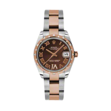 Rolex Mens Two Tone Midsize Datejust - Rose Gold Chocolate Diamond/Roman Dial - Domed Bezel with 24 Diamonds - Oyster Bracelet 31 MM 178341