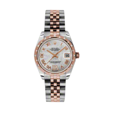 Rolex Mens Two Tone Midsize Datejust - Rose Gold Mother of Pearl Diamond Dial - Domed Bezel with 24 Diamonds - Jubilee Bracelet 31 MM 178341