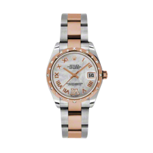 Rolex Mens Two Tone Midsize Datejust - Rose Gold Mother of Pearl Diamond Dial - Domed Bezel with 24 Diamonds - Oyster Bracelet 31 MM 178341