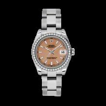 Rolex Datejust - Stainless Steel Pink Index Dial - 18K Diamond Bezel - Oyster Bracelet 31 MM 178384