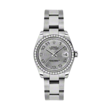 Rolex Datejust - Stainless Steel Silver Concentric Arabic Dial - 18K Diamond Bezel - Oyster Bracelet 31 MM 178384