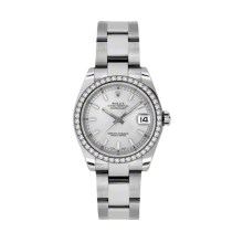 Rolex Datejust - Stainless Steel Silver Index Dial - 18K Diamond Bezel - Oyster Bracelet 31 MM 178384