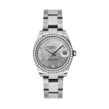 Rolex Stainless Steel White Goldust Datejust - Mother of Pearl Arabic Dial - 18K Diamond Bezel - Oyster Bracelet 31 MM 178384