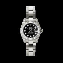Rolex Ladies White Gold Datejust - President Black Diamond Dial - Diamond Bezel - Lugs - Oyster Bracelet 26 MM 179159