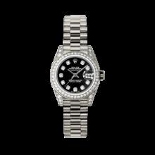 Rolex Ladies White Gold Datejust - President Black Diamond Dial - Diamond Bezel - Lugs - Presidential Bracelet 26 MM 179159