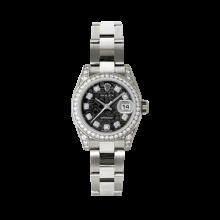 Rolex Ladies White Gold Datejust - President Black Jubilee Diamond Dial - Diamond Bezel - Lugs - Oyster Bracelet 26 MM 179159