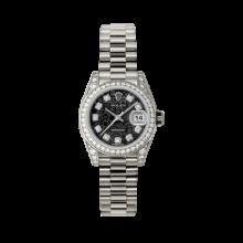Rolex Ladies White Gold Datejust - President Black Jubilee Diamond Dial - Diamond Bezel - Lugs - Presidential Bracelet 26 MM 179159