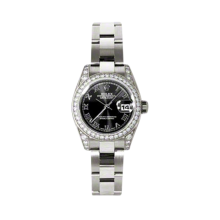 Rolex Ladies White Gold Datejust - President Black Roman Dial - Diamond Bezel - Lugs - Oyster Bracelet 26 MM 179159