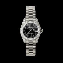Rolex Ladies White Gold Datejust - President Black Roman Dial - Diamond Bezel - Lugs - Presidential Bracelet 26 MM 179159