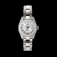 Rolex Ladies White Gold Datejust - President Silver Jubilee Diamond Dial - Diamond Bezel - Lugs - Oyster Bracelet 26 MM 179159