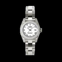 Rolex Ladies White Gold Datejust - President White Roman Dial - Diamond Bezel - Lugs - Oyster Bracelet 26 MM 179159