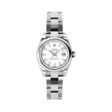 Rolex Ladies Datejust - Stainless Steel White Index Dial - Domed/Smooth Bezel - Oyster Bracelet 26 MM 179160