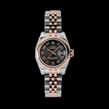Rolex Ladies 18K Two Tone Rose Gold Datejust - Black Concentric Arabic Dial - Domed/ Smooth Bezel - Jubilee Bracelet 26 MM 179161