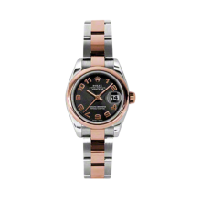 Rolex Ladies 18K Two Tone Rose Gold Datejust - Black Concentric Arabic Dial - Domed/ Smooth Bezel - Oyster Bracelet 26 MM 179161