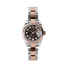 Rolex Ladies 18K Two Tone Rose Gold Datejust - Black Jubilee Diamond Dial - Domed/ Smooth Bezel - Oyster Bracelet 26 MM 179161