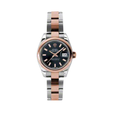 Rolex Ladies 18K Two Tone Rose Gold Datejust - Black Index Dial - Domed/ Smooth Bezel - Oyster Bracelet 26 MM 179161