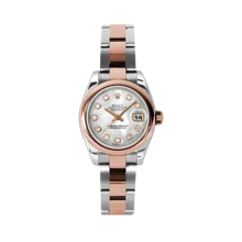 Rolex Ladies 18K Two Tone Rose Gold Datejust - Mother of Pearl Diamond Dial - Domed/ Smooth Bezel - Oyster Bracelet 26 MM 179161