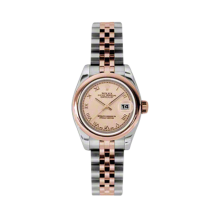 Rolex Ladies 18K Two Tone Rose Gold Datejust - Pink Champgane Roman Dial - Domed/Smooth Bezel - Jubilee Bracelet 26 MM 179160