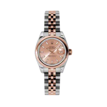 Rolex Ladies 18K Two Tone Rose Gold Datejust - Pink Index Dial - Domed/Smooth Bezel - Jubilee Bracelet 26 MM 179160
