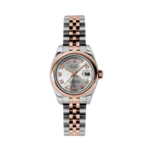 Rolex Ladies 18K Two Tone Rose Gold Datejust - Silver Concentric Arabic Dial - Domed/ Smooth Bezel - Jubilee Bracelet 26 MM 179161