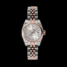 Rolex Ladies 18K Two Tone Rose Gold Datejust - Silver Diamond Dial - Domed/ Smooth Bezel - Jubilee Bracelet 26 MM 179161