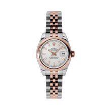 Rolex Ladies 18K Two Tone Rose Gold Datejust - Silver Index Dial - Domed/ Smooth Bezel - Jubilee Bracelet 26 MM 179161