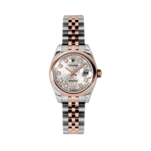 Rolex Ladies 18K Two Tone Rose Gold Datejust - Silver Jubilee Diamond Dial - Domed/ Smooth Bezel - Jubilee Bracelet 26 MM 179161