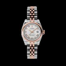 Rolex Ladies 18K Two Tone Rose Gold Datejust - Silver Roman Dial - Domed/ Smooth Bezel - Jubilee Bracelet 26 MM 179161
